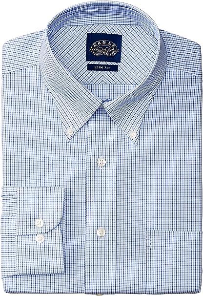 NEW EAGLE BLUE BEIGE MULTI PLAID REGUAR FIT NON-IRON DRESS SHIRT
