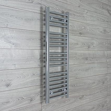 Toallero radiador cromado, 300mm de ancho, plano/escalera recta, para