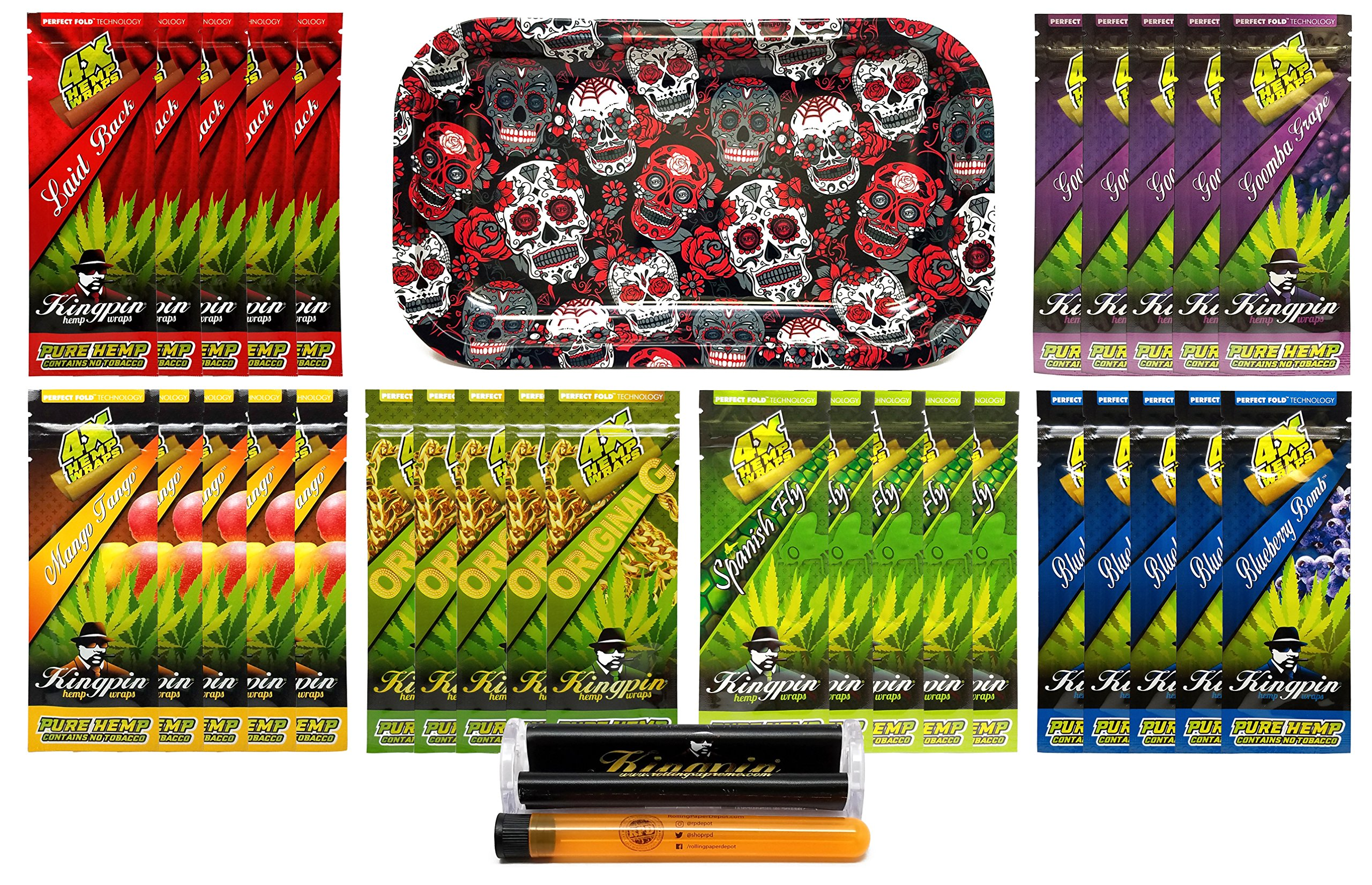 Bundle - 33 Items - Kingpin Flavored Hemp Wraps Sampler (6 Flavors, 5 Packs of Each) with Kingpin Wrap Roller, Rolling Paper Depot Rolling Tray (Skulls) and Doob Tube