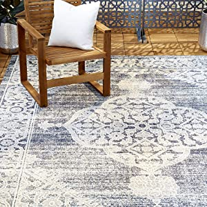"Home Dynamix Nicole Miller Patio Sofia Magnolia Indoor/Outdoor Area Rug 7'9""x10'2"", Distressed Medallion Navy Blue/Ivory"