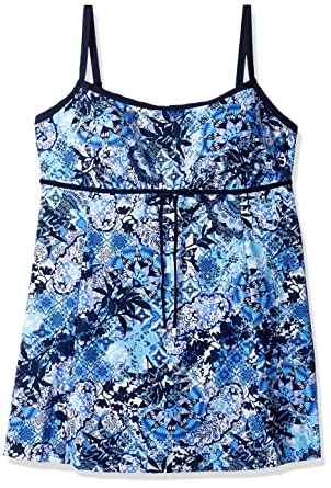 Shape Solver Womenu0027s Plus Size Swimsuit Zen Garden Empire Swimdress At  Amazon Womenu0027s Clothing Store: