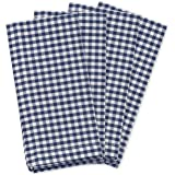 "KAF Home Gingham Napkins in Navy & White Woven Check, Set of 4, 19"" by 19"", Easy Care, Machine Washable"