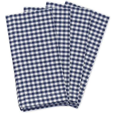KAF Home Gingham Napkins in Navy & White Woven Check, Set of 4, 19  by 19 , Easy Care, Machine Washable