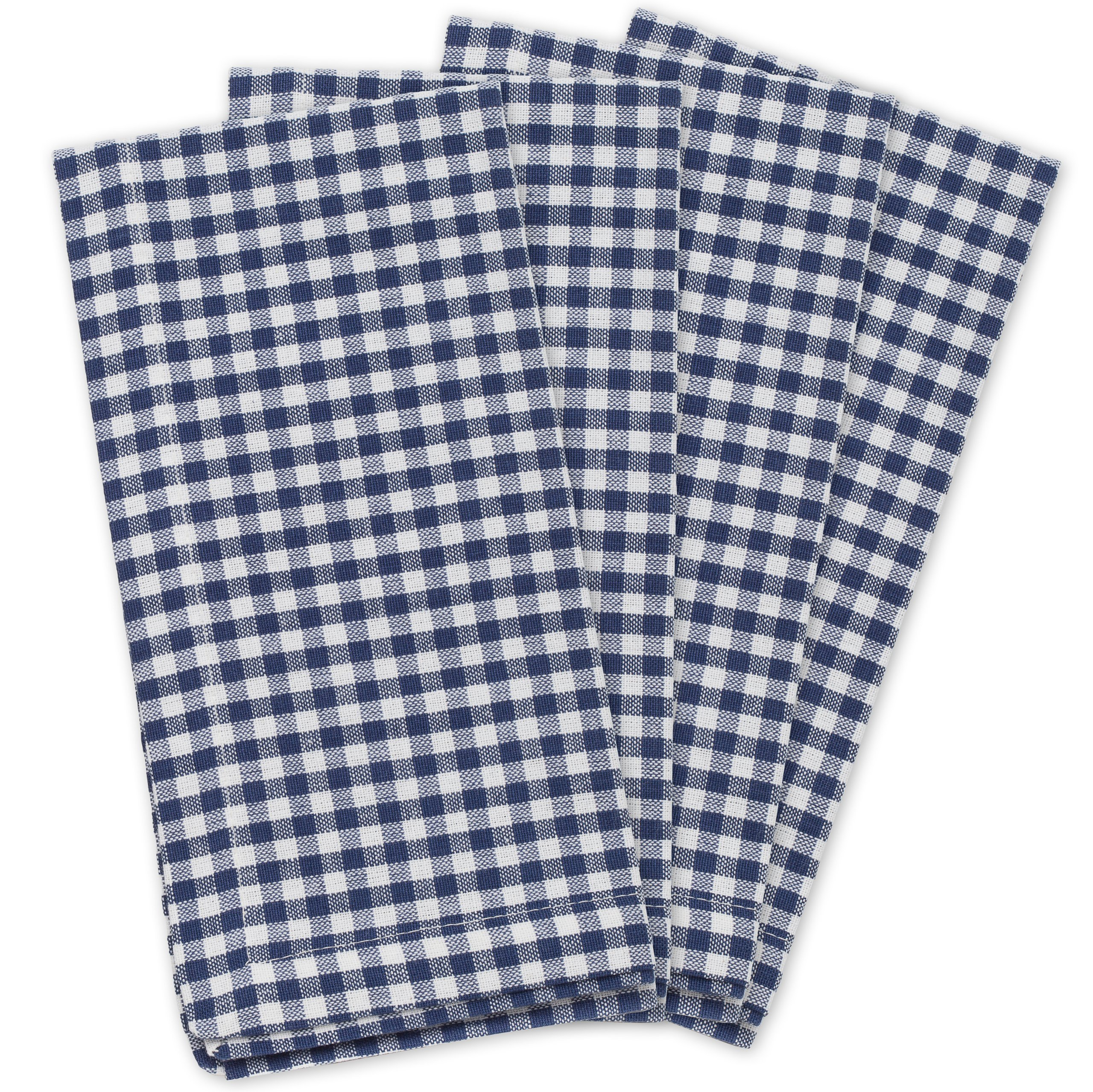 KAF Home Gingham Napkins in Navy & White Woven Check, Set of 4, 19'' by 19'', Easy Care, Machine Washable