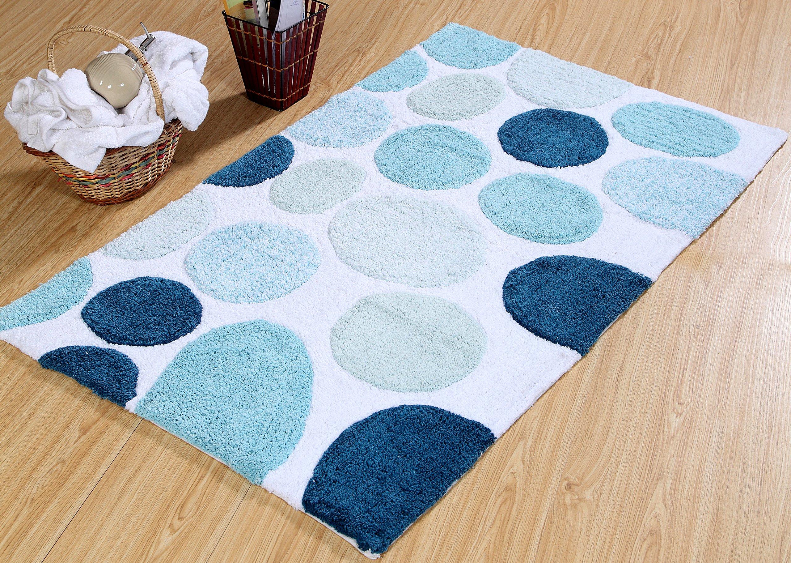 Saffron Fabs Bath Rug 100% Soft Cotton, Size 50x30 Inch, Latex Spray Non-Skid Backing, Multiple Blue Color Pebble Stone Pattern, Machine Washable