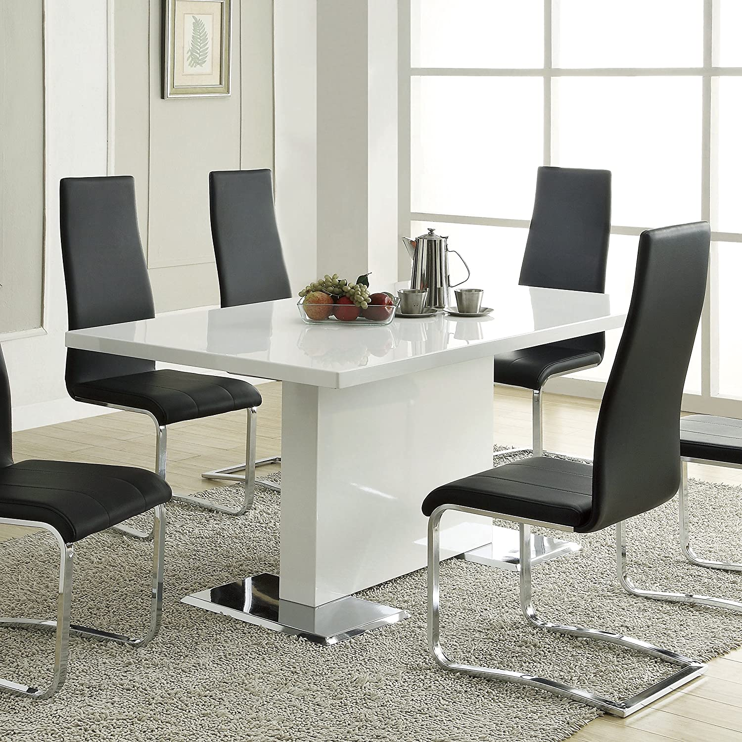 """63/"""" Dining Table Modern Rectangular Kitchen Table for 6 People Home Living Room"""