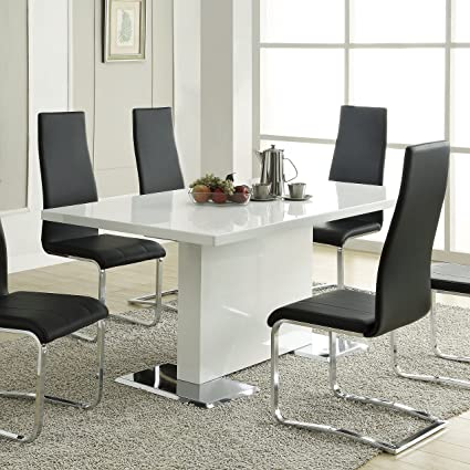 Amazoncom Nameth Dining Table With Metal Base Glossy White Tables