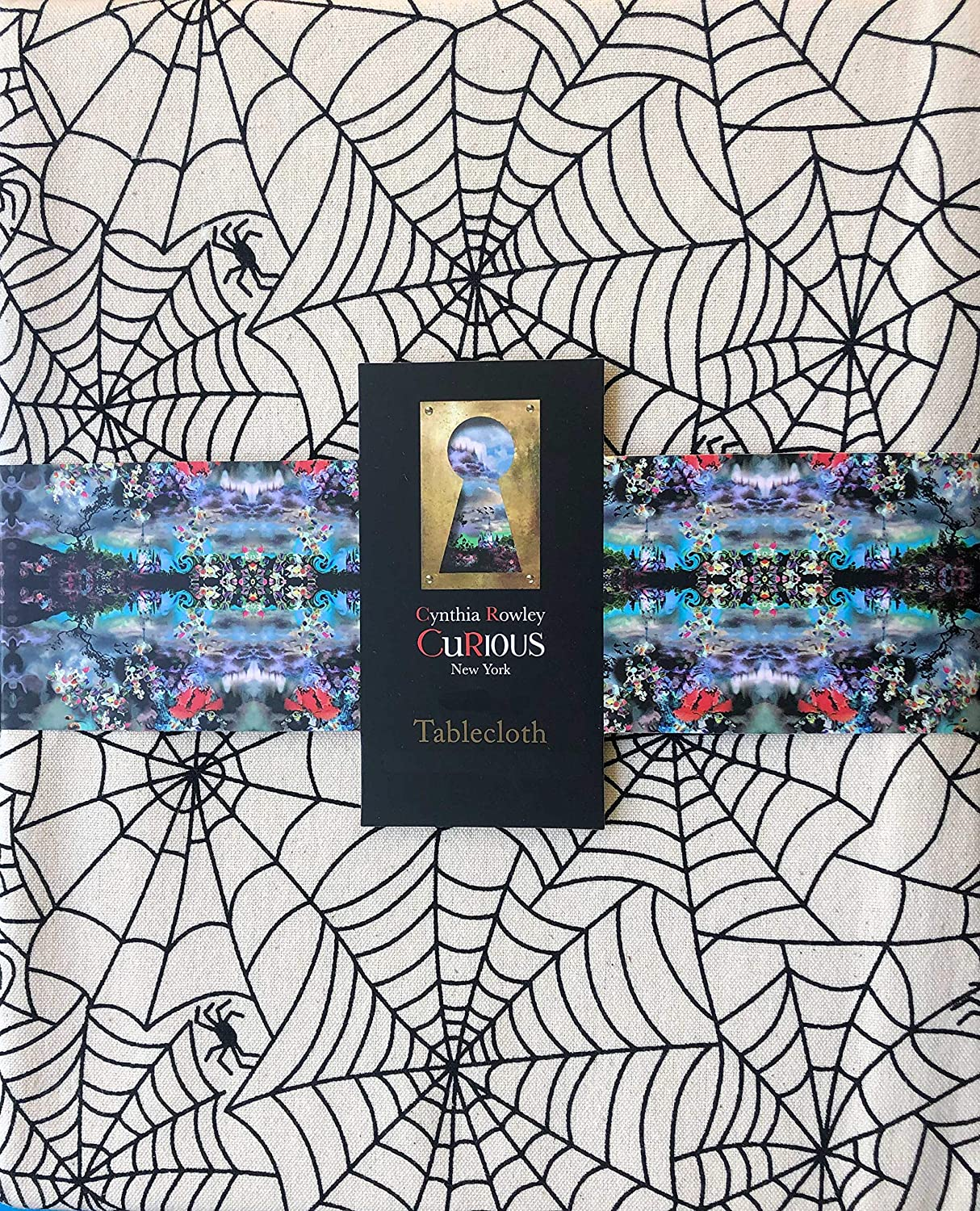 Cynthia Rowley Tablecloth Halloween Spiderweb Pattern with Creepy Black Spiders on Tan, 60 Inches Round