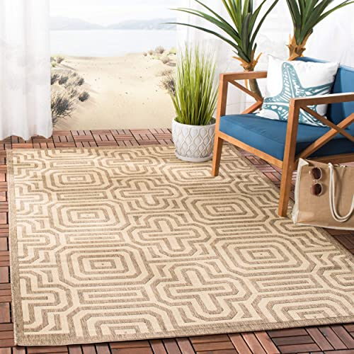 Safavieh Courtyard Collection CY2962-3009 Brown and Natural Indoor Outdoor Area Rug 6 7 x 9 6