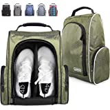 CHAMPKEY 600D Polyester High Performance Golf Shoe Bag - Removable Divider & Zippered Shoe Carrier Bags, Water Resistant & Sc