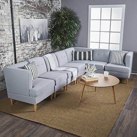 Milltown Mid Century Modern Fabric 7 Piece Sectional Sofa Set (Light Grey) : mid century modern sectional sofas - Sectionals, Sofas & Couches
