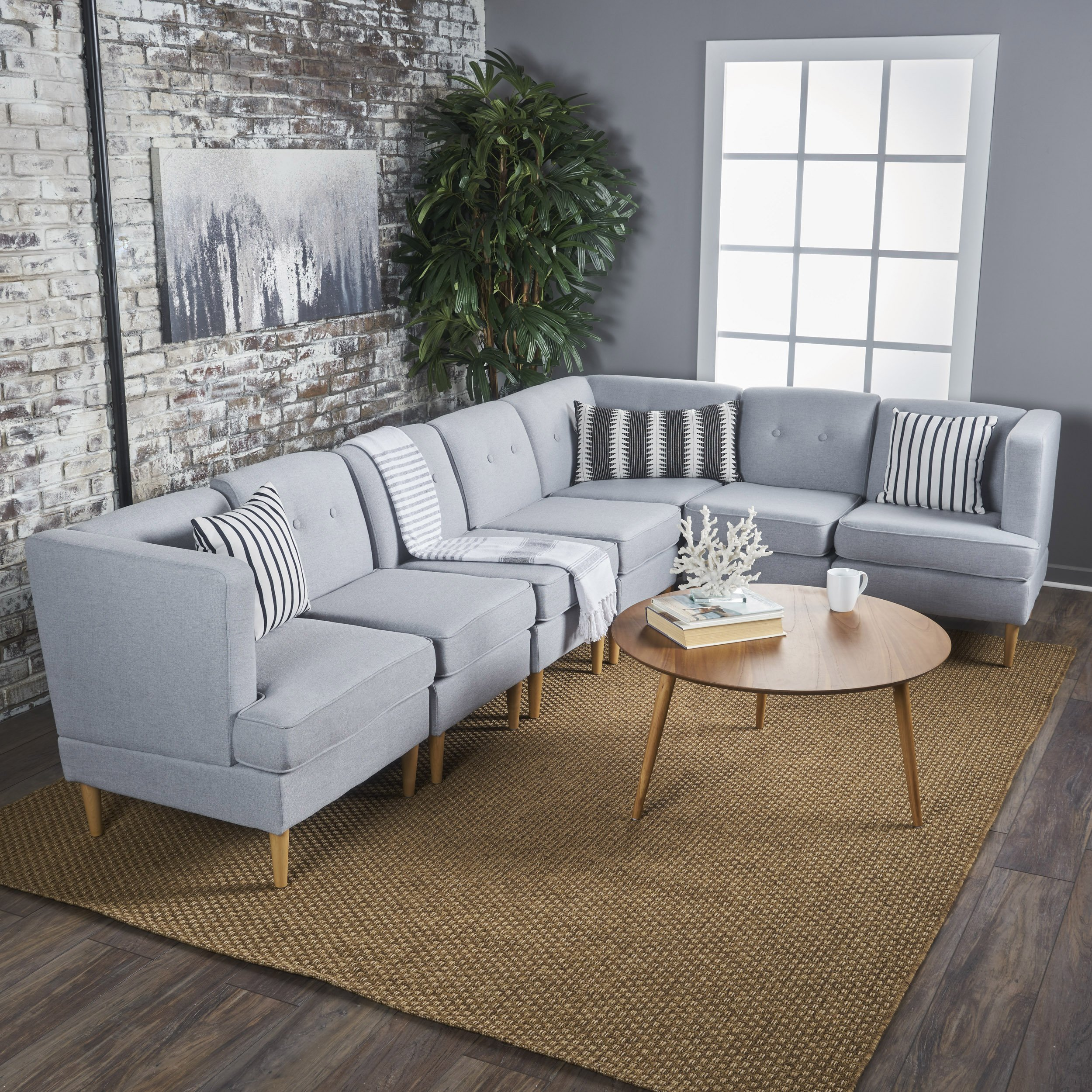 Milltown Mid Century Modern Fabric 7 Piece Sectional Sofa Set (Light Grey)