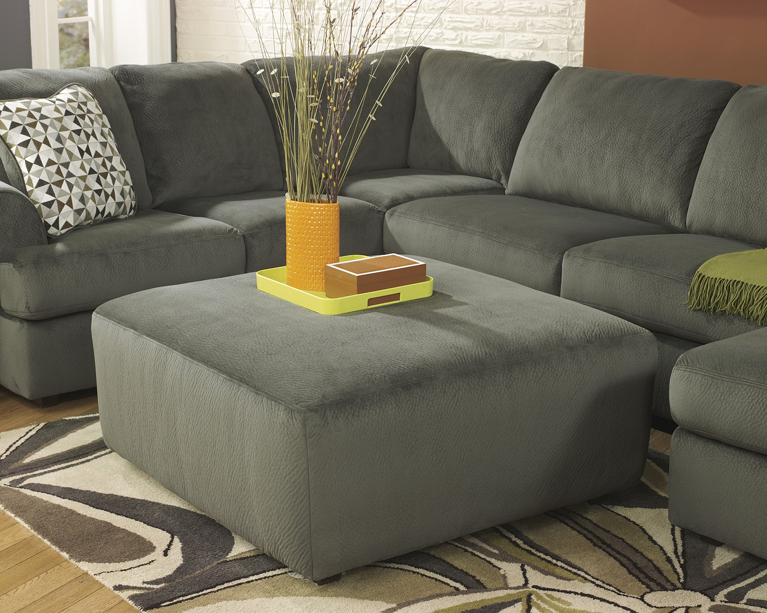 Jessa Place Contemporary Pewter Color Microfiber Oversized Accent Ottoman