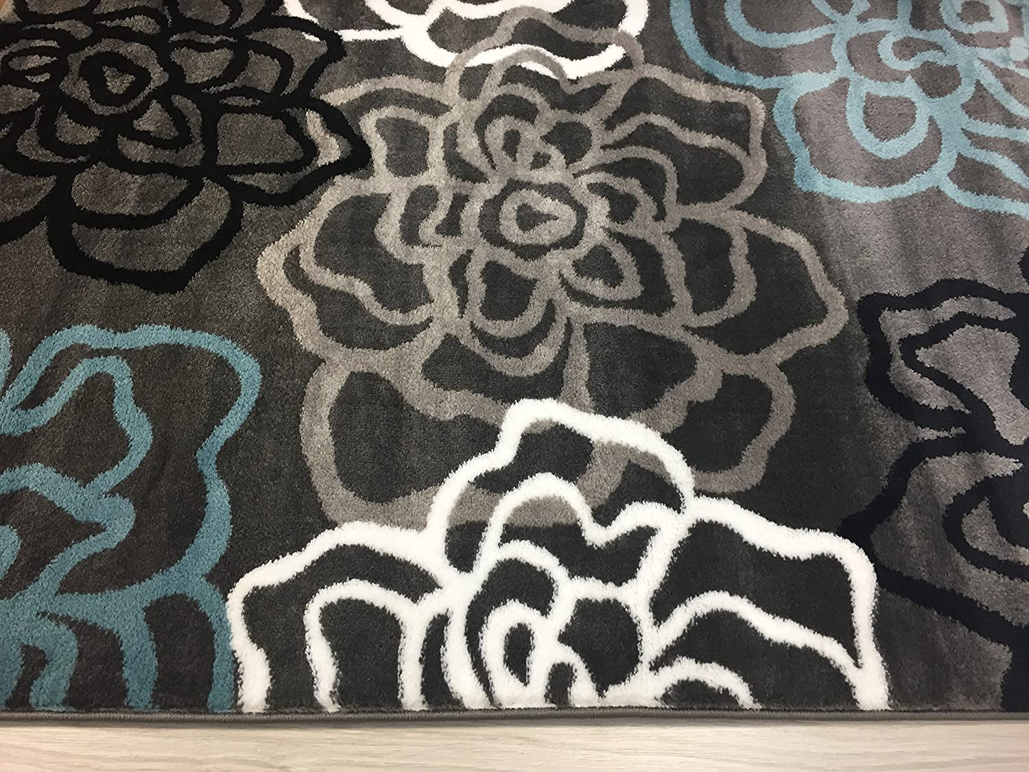 amazoncom rugshop contemporary modern floral flowers area rug   - amazoncom rugshop contemporary modern floral flowers area rug '  x'  gray kitchen  dining