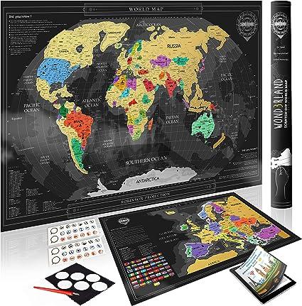 Cartina Mondo Gratta.Wond3rland Cartina Geografica Del Mondo Da Grattare Mappa Extra Dell Europa Poster Di Alta Qualita Idea Regalo Per Viaggiatori Tracciatura Di Viaggio Bonus Ebook Set Di Accessori Completo
