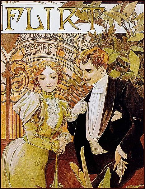 Decorative Art Print Victorian Advertisement Reprint Alphonse Mucha Flirt Romance 8 10 Print Posters Prints