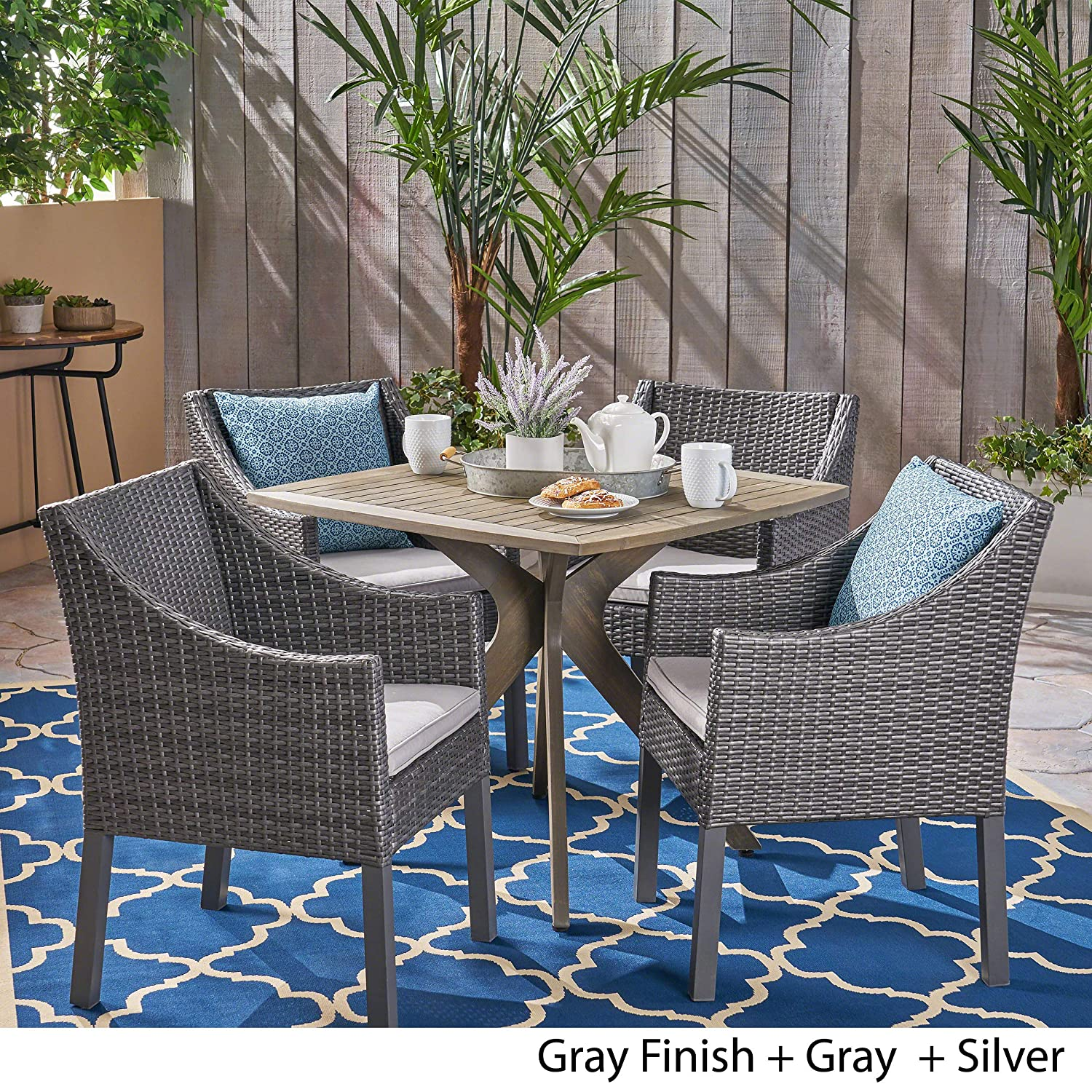 Amazon com great deal furniture tarry outdoor 5 piece wood and wicker dining set gray finish and gray and silver garden outdoor