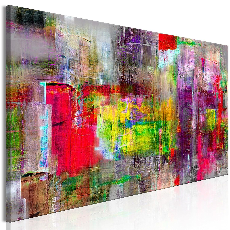 Decomonkey Akustikbild Abstrakt 135x45 cm 1 Teilig Bilder Leinwandbilder Wandbilder XXL Schallschlucker Schallschutz Akustikdämmung Wandbild Deko leise bunt rot grün violett