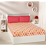 Amazon Brand - Solimo Mystic Drops 144 TC 100% Cotton Double Bedsheet with 2 Pillow Covers, Red