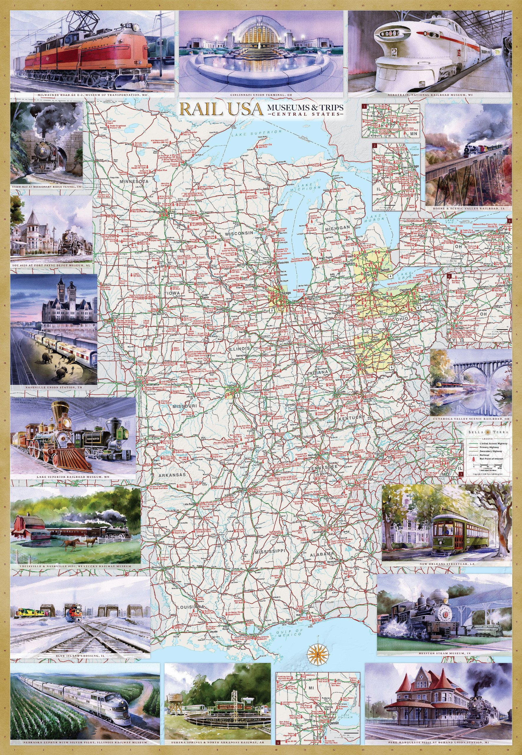 Rail U.S.A. Museums & Trips Central States Illustrated Map Laminated Poster pdf