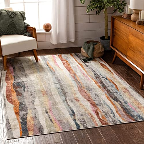 Well Woven Dallin Bohemian Vintage Multi Ivory Tribal Stripes Pattern Area Rug 8×10 7'10″ x 9'10″