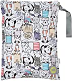 """Itzy Ritzy Sealed Wet Bag With Adjustable Handle, 11"""" x 14"""", Cats & Dogs"""