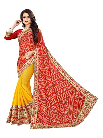 163a0288be Devika Fashion Women's Moss Rajasthani Bandhani Zari Lace Heavy Work Saree  With Blouse (DF05_15002_Red And