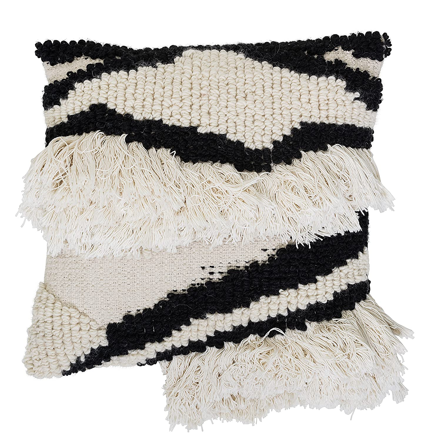 Bloomingville Wool Blend Pillow, Black & White