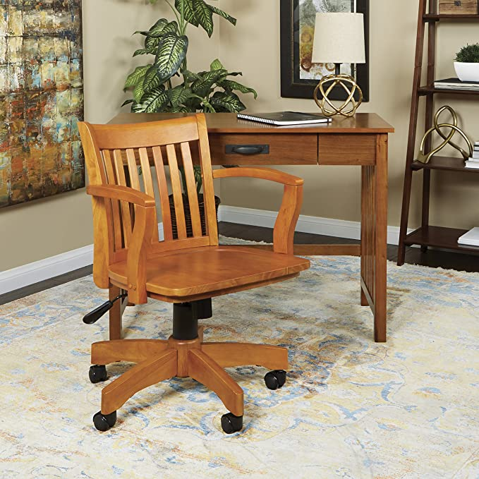 Amazon.com Office Star Deluxe Wood Bankers Desk Chair with Wood Seat Fruit Wood Kitchen u0026 Dining & Amazon.com: Office Star Deluxe Wood Bankers Desk Chair with Wood ...