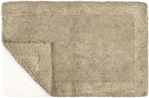 TOMORO Cotton Non-Slip Bathroom Rug Super Absorbent Soft - Luxury Hotel Linens Reversible Non-Skid Door and Bath Mat with Non-Slip Rug Pad Brown