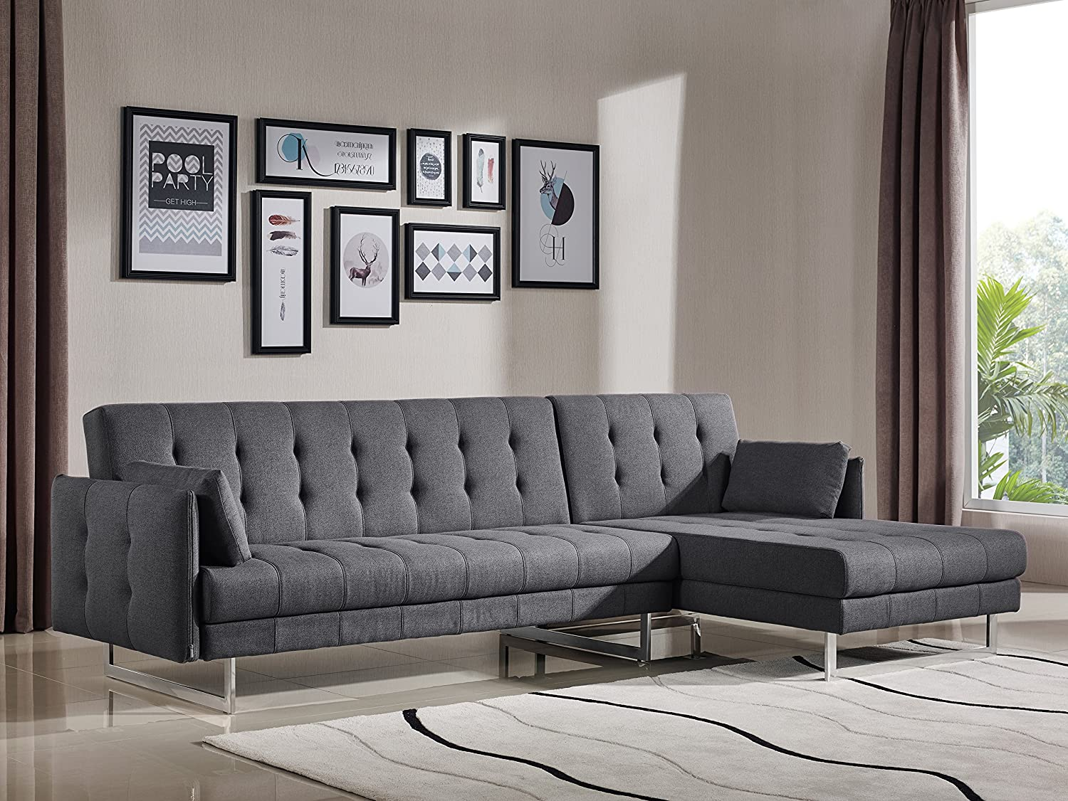 Limari Home The Evin Collection Modern Polyester Fabric Upholstered Wood Frame With Steel Legs Sectional Sofa Bed Couch for the Living Room, Gray