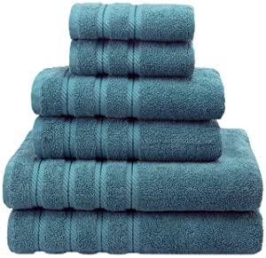 American Soft Linen Premium, Luxury Hotel & Spa Quality, 6 Piece Kitchen and Bathroom Turkish Towel Set, Cotton for Maximum Softness and Absorbency, [Worth $72.95] Colonial Blue