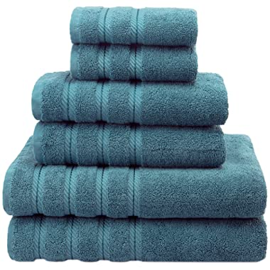 American Soft Linen Premium, Luxury Hotel & Spa Quality, 6 Piece Kitchen & Bathroom Turkish Towel Set, Cotton for Maximum Softness & Absorbency, [Worth $72.95] Colonial Blue