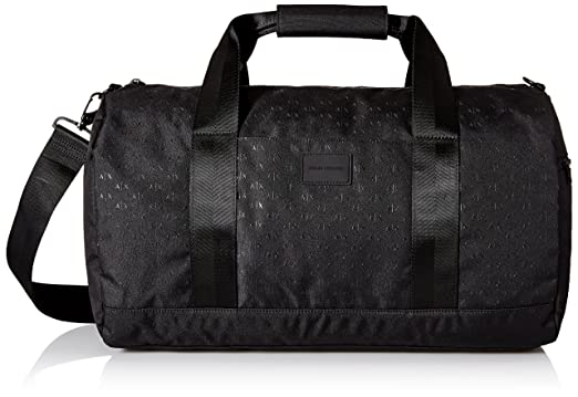Armani Exchange Men s Light Weight Dobby Nylon All Over Logo Duffle  Weekender Bag 88de0d44e07fb