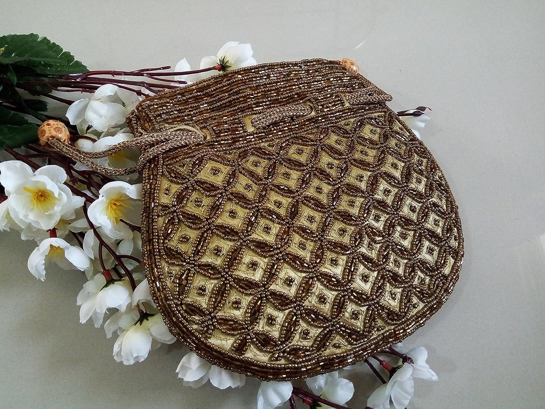 Golden beaded pearls Potli Bag, Zardozi, Pearl handle, handmade, handcrafted, designer handbag handmade in India by Artcraving