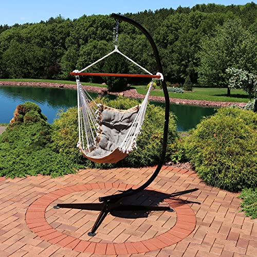 Sunnydaze Tufted Victorian Hammock Chair Swing with Stand – Large Hanging Chair Seat with C-Stand for Backyard Patio – 300 Pound Capacity – Gray