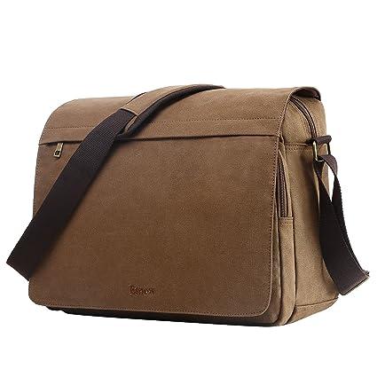bbf965a9f7 Eshow Sac Homme Bandouliere Brun Toile Sacs porté Epaule Grande Sacoche  Besace Vintage Rétro pour Ordinateur