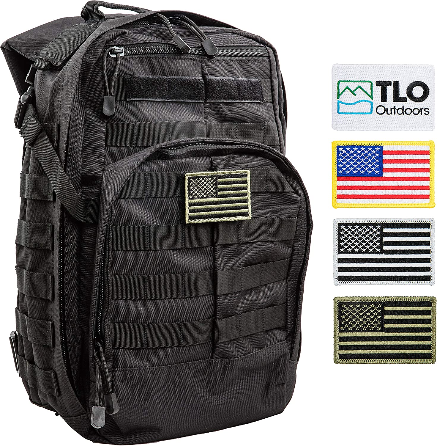 TLO TacPack12Tactical Backpack - 24 Storage Daypack, Rucksack with MOLLE, Patches