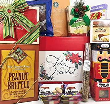 Feliz Navidad Christmas Gift Box Basket for the Holidays - Delicious Truffles, Peanut Brittle,