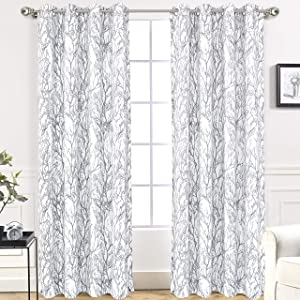 DriftAway Tree Branch Botanical Pattern Painting Blackout Room Darkening Thermal Insulated Grommet Lined Window Curtains 2 Panels 2 Layers Each 52 Inch by 96 Inch Gray