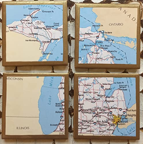 Gold In Michigan Map.Amazon Com Coasters Michigan Map Coasters With Gold Trim Handmade