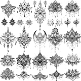 EGMBGM 15 Sheets Sexy Black Henna Mehndi Lotus Temporary Tattoos For Women Fake Jewelry Lace Moon Moth Flowers Pendant Temp T