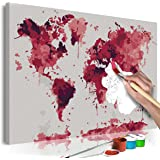 murando Paint by Numbers Kit World map 60x40 cm DIY Painting Canvas on