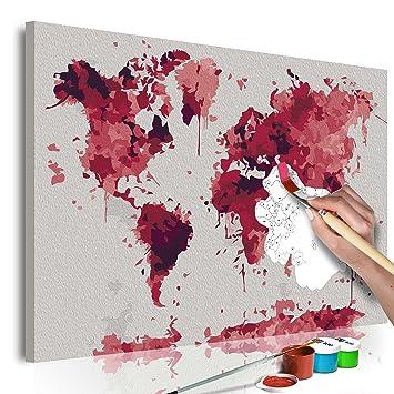 Murando Malen Nach Zahlen Weltkarte 60x40cm Malset Diy Na 0547 Da