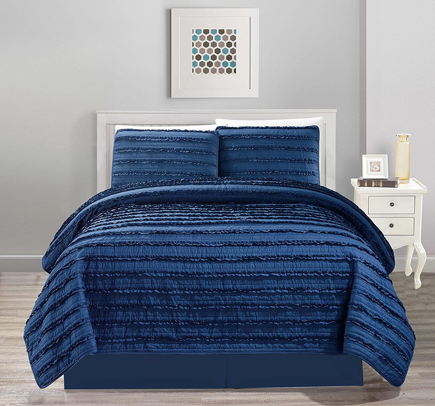 4pc Pleated Ruffle Bedspread/Quilt Set with Bedskirt (King Size, Navy Blue