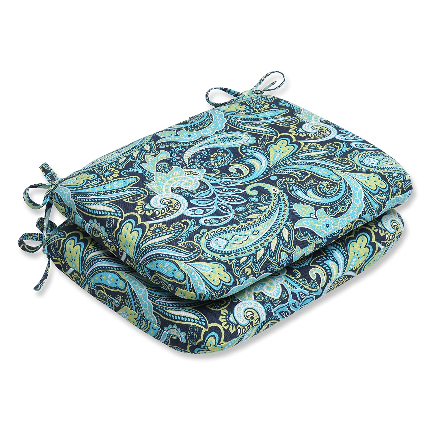Pillow Perfect Outdoor Pretty Paisley Rounded Corners Seat Cushion, Navy, Set of 2