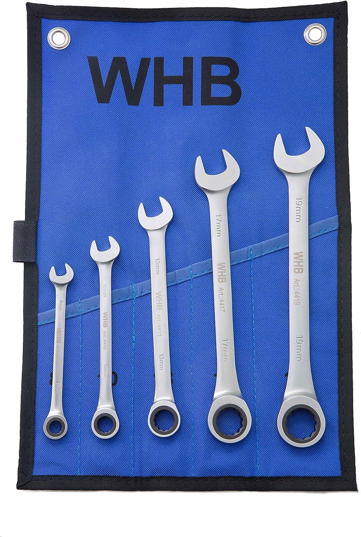WHB-Tools 4400-05 Ring-Ratschenschl/üssel-Satz 5-tlg mit Rolltasche