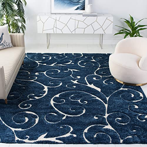 Safavieh Florida Shag Collection SG455-6511 Scrolling Vine Graceful Swirl Textured 1.18-inch Thick Area Rug