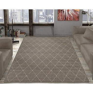 Ottomanson Jardin Collection Contemporary Trellis Design Indoor/Outdoor Jute Backing Area Synthetic Sisal Rug, Grey, 5'3  x 7'3