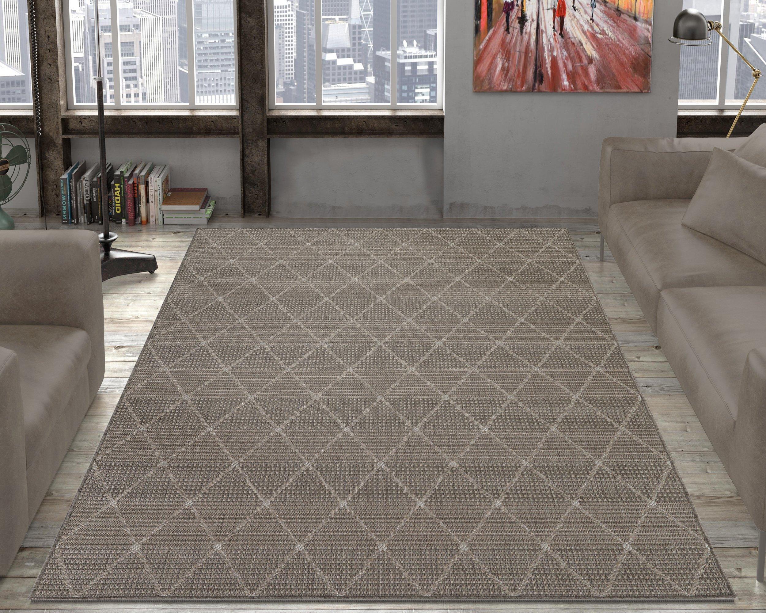 Ottomanson Jardin Collection Contemporary Trellis Design Indoor/Outdoor Jute Backing Area Synthetic Sisal Rug, Grey, 5'3'' x 7'3''